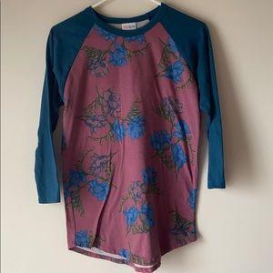 Lularoe Randy w/Teal sleeves & pink floral body